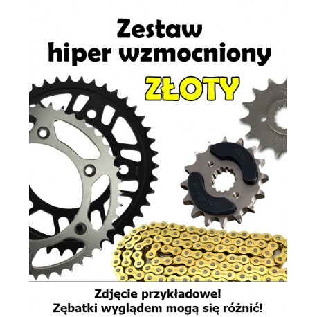 SUZUKI RMX 450Z 2010-2013 ZESTAW NAPĘDOWY DID HIPER WZMOCNIONY ZŁOTY BEZORING