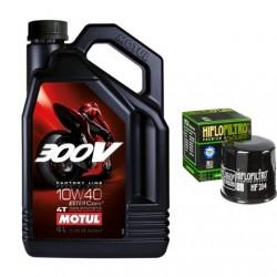 Olej MOTUL 300V 10w40 racing 4l + filtr oleju